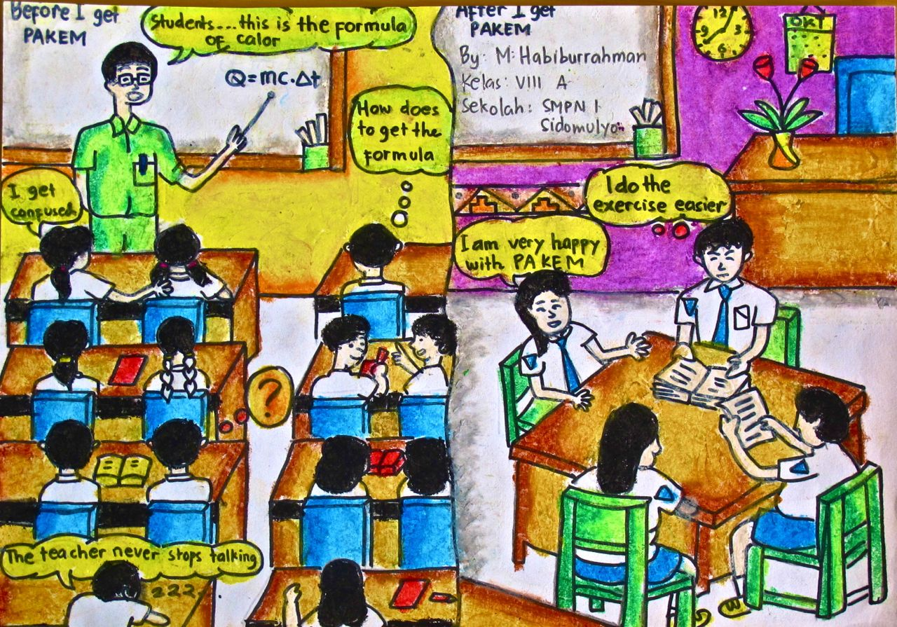 An Indonesian junior secondary student's perception of the difference between a traditional form of teaching, often associated with surface learning, and a new approach, PAKEM. This Indonesian abbreviation translates into English as learning that is active, creative, effective and enjoyable, which encourages deeper approaches to learning.