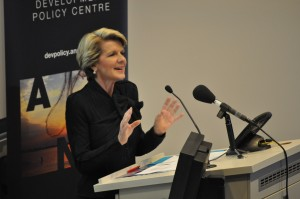 Julie Bishop addressing the Pacific Update 2013