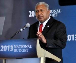 Fiji PM Commodore Josaia Bainimarama delivering the 2013 national budget