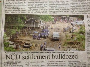 Port Moresby art theatre community bulldozed
