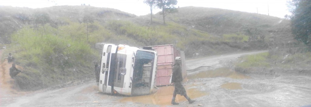 A truck abandoned on the road to Goroka