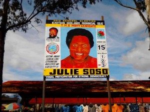 Julie Soso election poster in Goroka