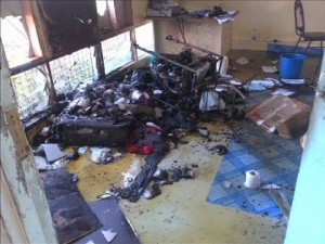 Damage at the UPNG medical school following the attack by military personnel.
