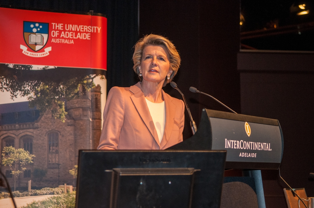 Julie Bishop speaking at the Univeristy of Adelaide's National Dialogue