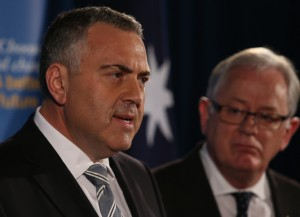 Shadow Treasurer Joe Hockey and shadow Minister for Finance, Andrew Robb hold a press conference to announce the Coalition's election announcement costings, in Melbourne, Thursday, Sept 5, 2013. The costings were signed off by an independent review panel. (AAP Image/David Crosling)