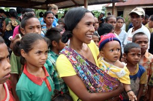 Women and children at a remote village in Timor-Leste. Photo Joao Vas/DFAT.
