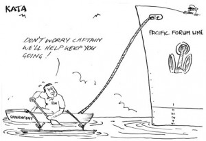 A cartoon critical of the Government of Cook Islands' support for Pacific Forum Line, featured in the Cook Islands News, April 29th 2011