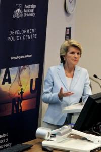 Julie Bishop opening the 2014 Australasian Aid and International Development Workshop