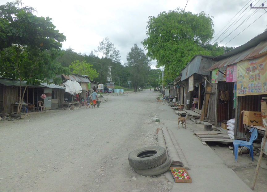 Downtown Viqueque, looking north to the old Indonesian garuda monument, 2014