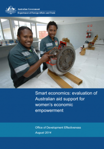 Smart economics - evaluation of Australian aid support for womens economic empowerment