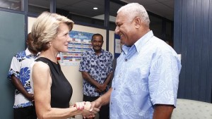 Julie Bishop meets Frank Bainimarama in Suva yesterday. Picture: Fiji Ministry Of Information