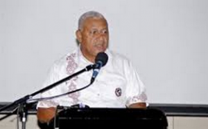 Prime Minister Bainimarama delivering his statement at the 2015 Fiji budget forum. Photo: Fijian Government.