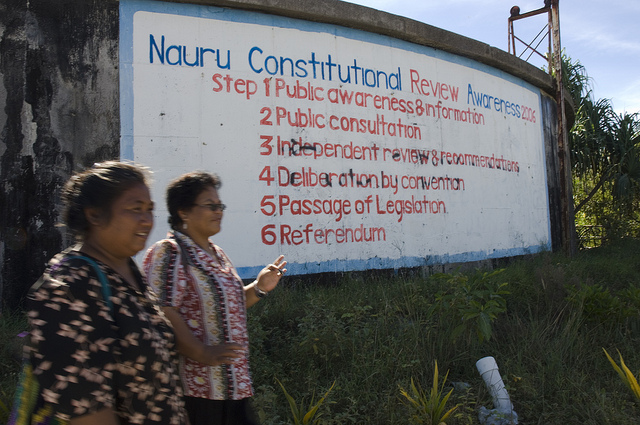Nauru Constitutional billboard (image: Flickr/DFAT/Lorrie Graham)