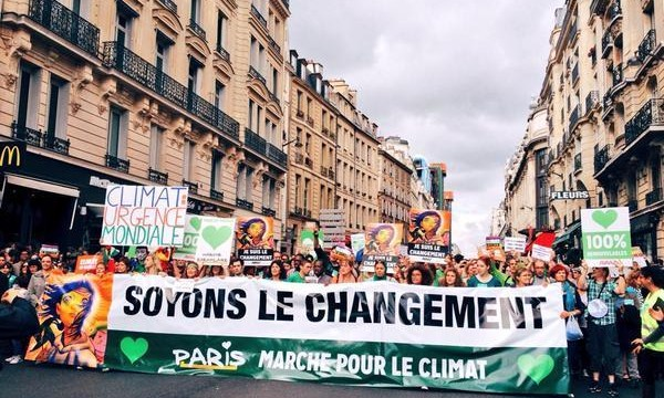 Participants in the People's Climate March in Paris on 28 November.