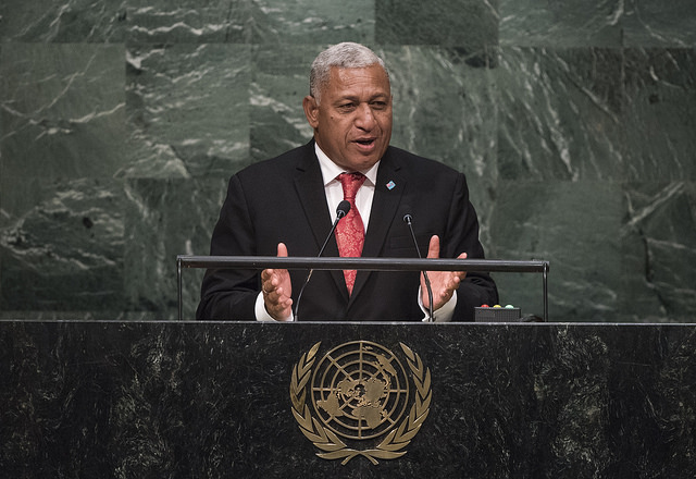 Fiji Prime Minister Bainimarama speaking at the 2015 UN General Assembly (Flickr/UN Photo/Cia Pak)