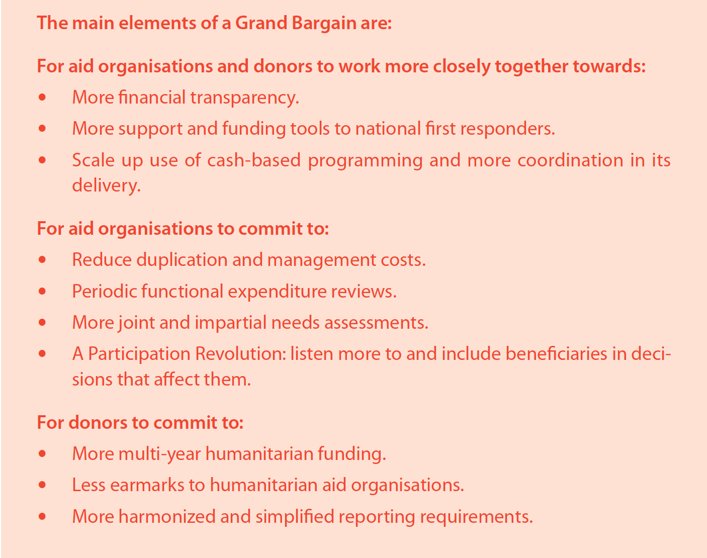 The main elements of a Grand Bargain
