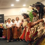 The PNG Peroveta singers and dancers performed at the launch of Sir Julius Chan's book.