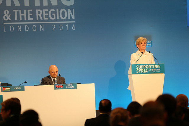 Julie Bishop speaking at Supporting Syria & the Region conference, Feb 2016 (Flickr/DFID/Adam Brown/Crown Copyright)