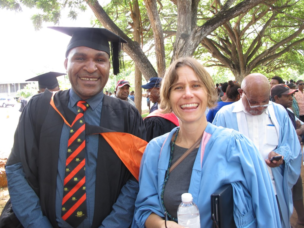 Crawford School alumnus Peter Telapi with ANU Associate Lecturer at UPNG, Tatia Currie, at the recent UPNG School of Business and Public Policy Graduation Ceremony.