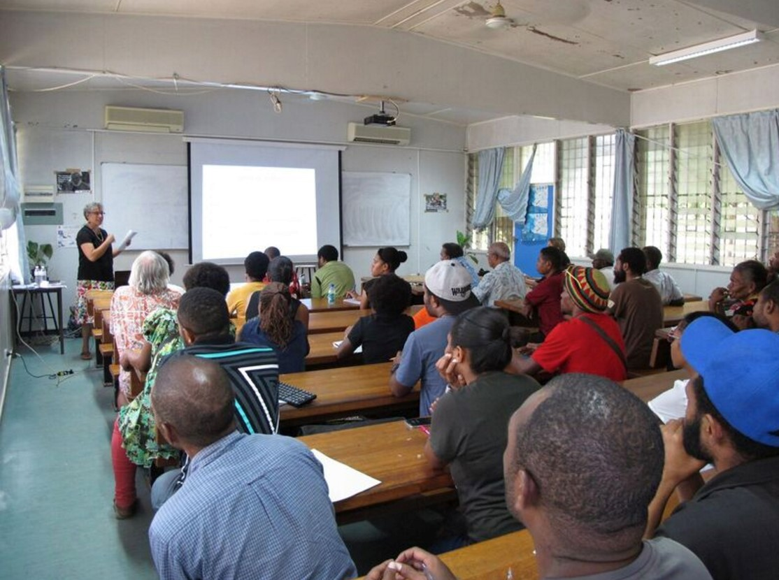 Michelle Rooney lecturing at UPNG, April 2016