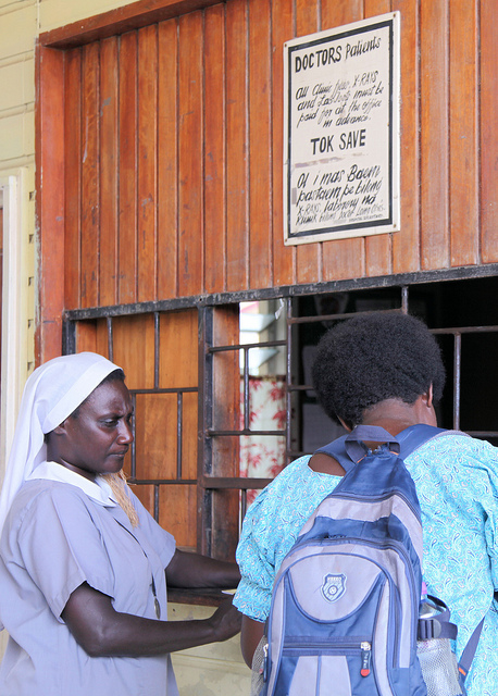 Nurse helps patient with admission, St Mary's Hospital, East New Britain (image: Flickr/DFAT/Jacqueline Smart)