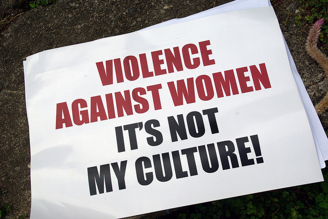 Sign from Men Against Violence Against Women project, Live and Learn Offices, Solomon Islands (image: Flickr/DFAT)