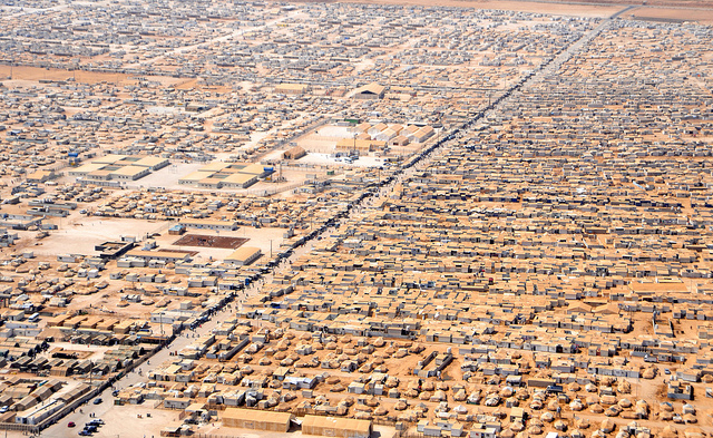 An aerial view of the Za'atari Refugee Camp, Jordan (Flickr/Sharnoff's Global Views CC BY 2.0)