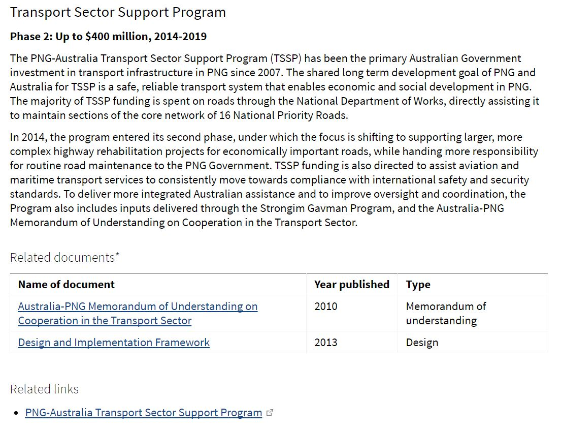 DFAT Transport Sector Support Program webpage