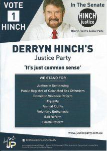 Derryn Hinch campaign flyer