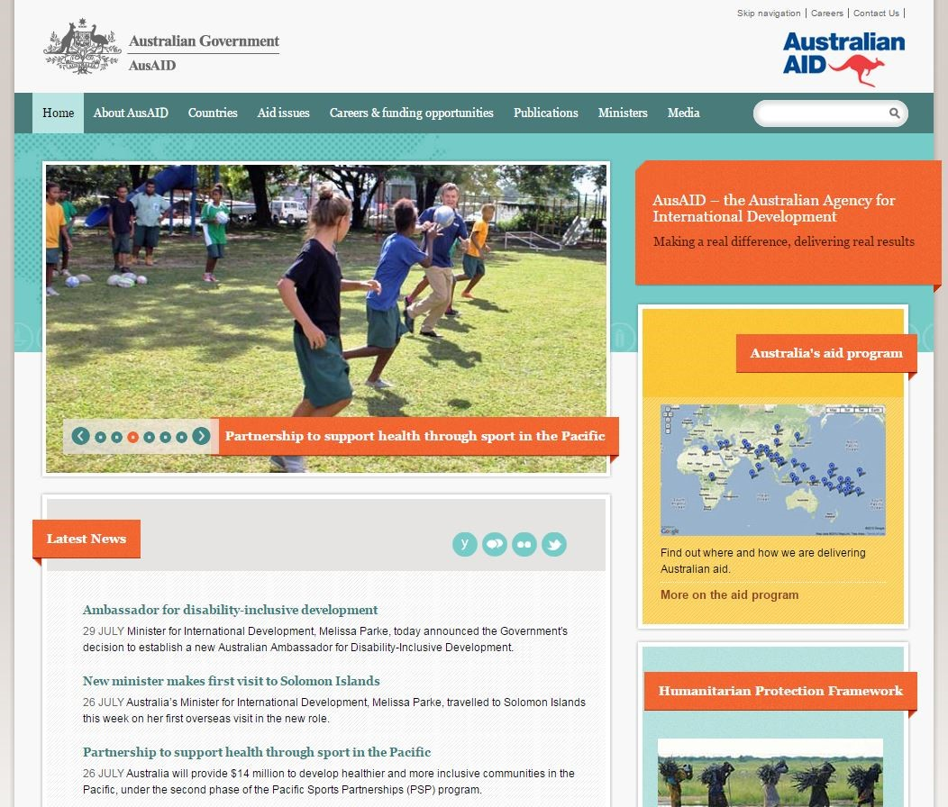 AusAID front page, July 2013