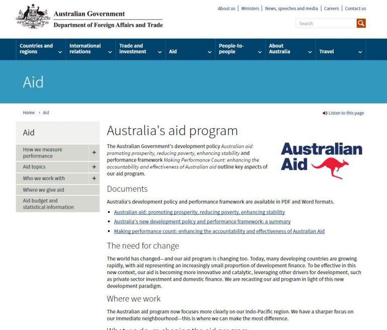 DFAT Aid landing page