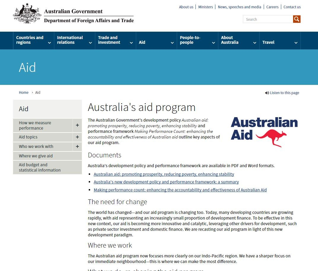 DFAT Aid landing page