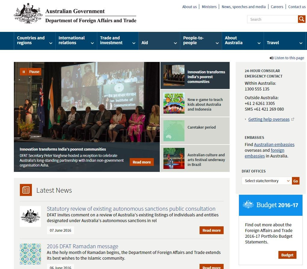 DFAT home page, June 2016