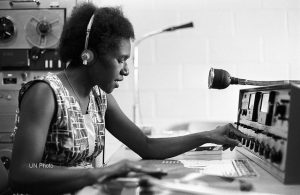Toni Siliwen, of Radio Morobe, which is managed by the Government Department of Information, does her daily program in the Sepik language in 1972. UN Photo/Ray Witlin
