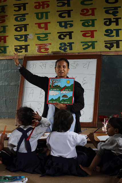 Rukmini Bhattarai, grade 1 teacher in Pokhara, Nepal (Flickr/DFAT CC BY 2.0)