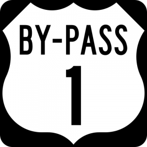 Bypass road sign (Wikimedia Commons, public domain)