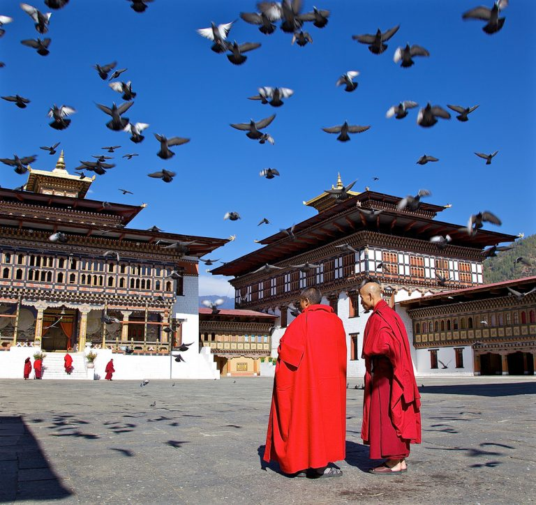 Monks in the Dzong, Thimphu, Bhutan - Flickr, Michael Foley, CC