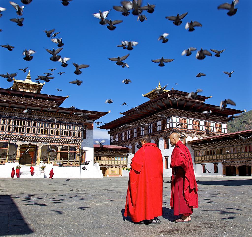Monks in the Dzong, Thimphu, Bhutan - Flickr, Michael Foley, CC