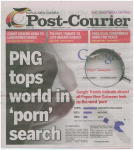 'PNG tops world in 'porn' search' Post-Courier front page