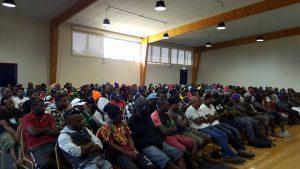 On-arrival briefing for Ni-Vanuatu seasonal workers in Koo Wee Rup, Victoria. Photo: Seasonal Workers Australia Facebook.