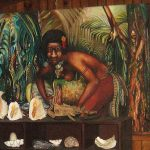 A painting by Manus artist Joe Nalo, on display at a guesthouse, depicting a Manus woman washing sago.