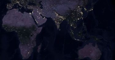 The Earth at night in 2016 (image: ESRI,/Lights On Lights Out)