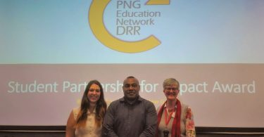 Stephanie Matulin and Benson Hahambu (Murdoch University) with Robyn Alders (RDI Network)