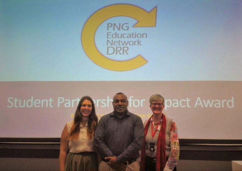 Stephanie Matulin and Benson Hahambu (Murdoch University) with Robyn Alders (RDI Network)