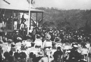 British flag raised on New Guinea, 1883