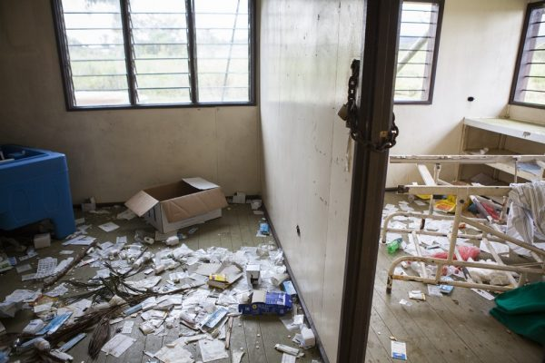 The wrecked rooms of Tukupangi health clinic (Jesse Boylan/ICRC)