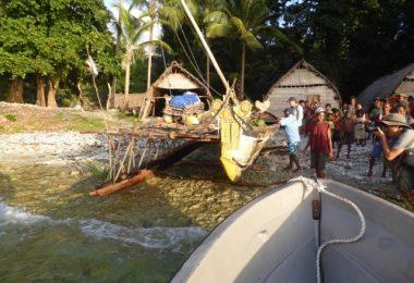 Traditional canoes and hangars on Gawa Island (image: John Greenshields)