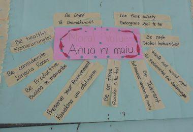 Bilingual classroom poster, Kiribati (Photo: Hilary Smith)