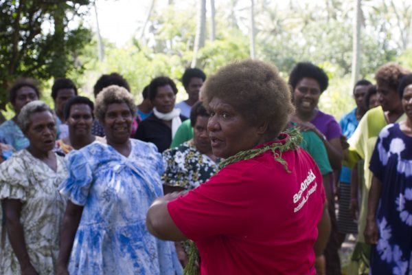 Mary Jack with women belonging to Women I Tok Tok Tugeta in Tanna, Vanuatu, in Febrary 2018 (Credit: ActionAid)