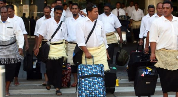 The first group of Tongan seasonal workers arriving at Tullamarine Airport (Credit: Rebecca Hallas, Sydney Morning Herald)